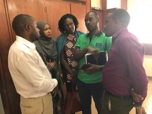 The E.D. WHRDN-U Brenda Kugonza and a team from Torture Victim at Mengo hospital expressing solidarity to Siperia Molie a youth human rights defender after an attack.