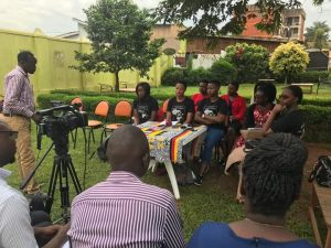 Women defenders  held a press conference to renounce   police involvement in  Human Trafficking activities in Uganda.