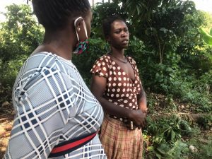 Jane SSenyange, assistant rapid response and protection officer WHRDN-U  paid a solidarity visit to Annet Nalubwama, a WHRD fighting against GVB