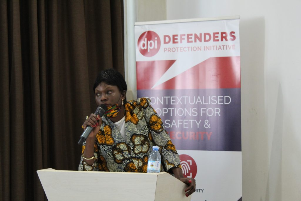 Brenda Kugonza, Executive Director, Women Human Rights Defenders Network Uganda, delivers a position paper advocating for a gender based Human Rights Protection Bill