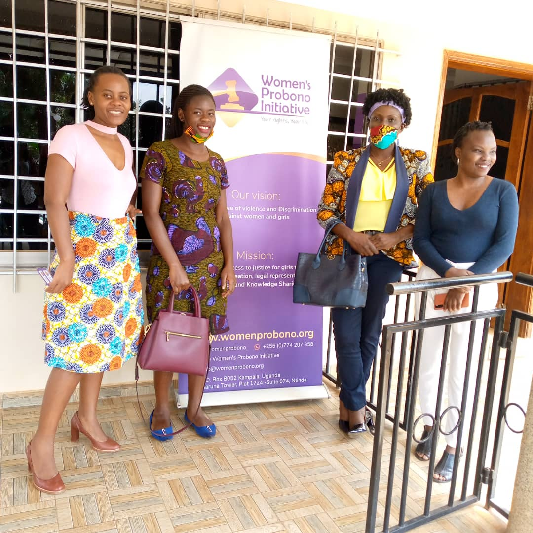 WHRDN-U members meet with Women Probono Initiative Executive Director, Prima Kwagala and Programs officer, Achola Elizabeth ith