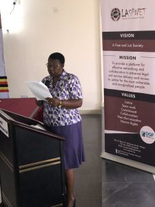 Miria Matembe speaks at the Consultative meeting on Election for Human Rights Defenders and Advocates