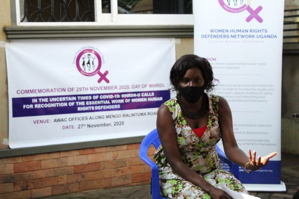 Brenda Kugonza speaks at the International Women Human Rights Defenders Day 2020
