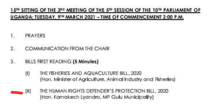 Parliament of Uganda Order paper 9th March 2021