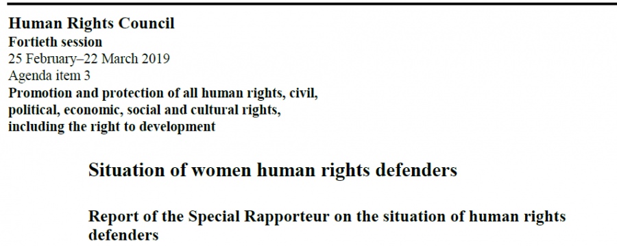 2019 Report of the Special Rapporteur on the situation of human rights defenders