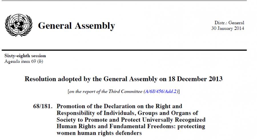UN Women Human Rights Defenders Resolution 2013